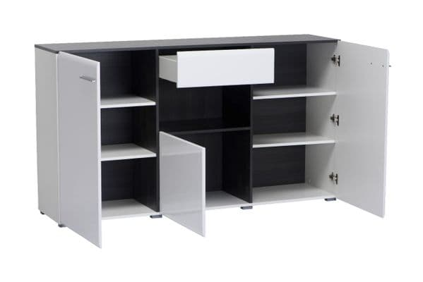Monclere White Gloss and Black Large Tall Wide Sideboard Storage Unit